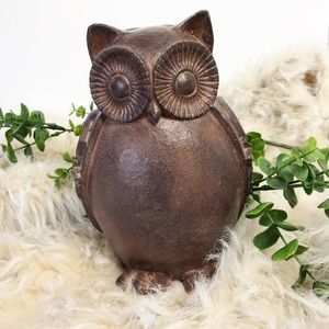 Owl Decor Brown Resin 7 Inches High